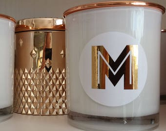 Personalised 'Alpha' Handpoured Soy Candle with Rose Gold Label