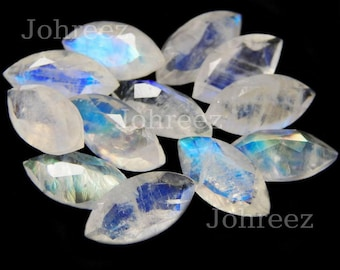 10 Pieces Natural Rainbow Moonstone Faceted Cut Marquise Shape Loose Gemstone High Quality Gemstone Cut