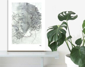 Illustration Art - woman gray green profile