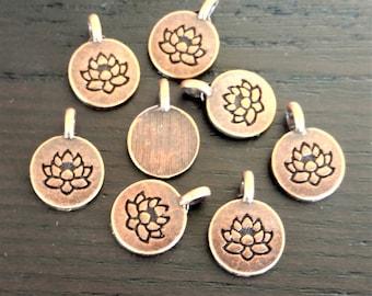 4 Lotus Pendants | Antique Copper Lotus Charm | Yoga Charm | Lotus Pendant | Tiny Lotus Charm | Ready to Ship from USA | AC086-4