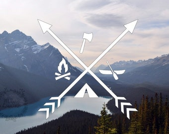 Campers Compass Decal - camping decal - fire decal - compass decal - arrows and camping - car and bumper decal - hiking - outdoors decal