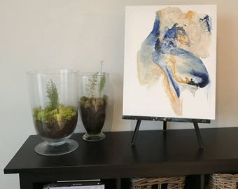 "16 x 20"" Original Abstract Painting and Collage - blue, gold, cream"