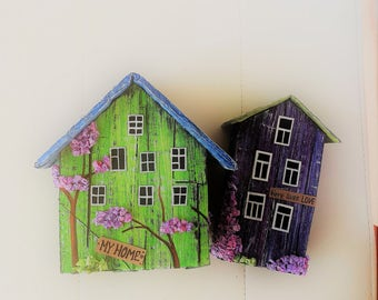 Little Paper Houses Green And Purple Cute Desk Accessories Cute Home Decor Miniature