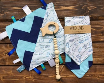 Baby Shower Gift Set Ocean Beach Crinkle Taggie, Wood Teether, Bandana