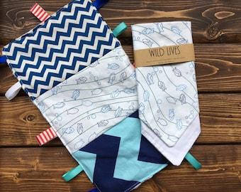 Baby Shower Nautical Ocean Taggie, Bandana Gift Set