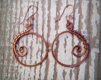 Earrings of copper made by hand