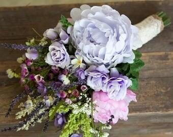 Wildflower Bouquet Lavender, Purple Bouquet, Rustic Bouquet, Peony Wedding Bouquet, Boho Bouquet, Silk Flower Bouquet, Lavender Bouquet