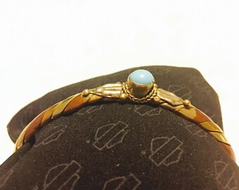 Copper brass sterling turquoise cuff bracelet