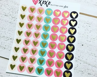 Gold Foiled Heart Planner Stickers ~ 546