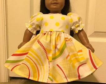 Joyful Yellow Dress for American Girl or Other 18 inch Doll