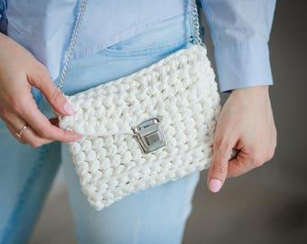 Crochet Clutch Bag, Handmade knit clutch, White Bag, Boho Clutch, Crochet rope bag, Summer bag, Gift ideas