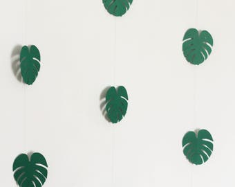Palm Leaf Bunting, Tropical Paper Garland, Green Paper Leaf Garland, Paper Leaf Garland, Hanging Paper Leaf Garland, DOUBLE SIDED Garland