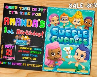 Bubble guppies invitation, bubble guppies birthday party, bubble guppies birthday invitation, bubble guppies invite, bubble gupies printable