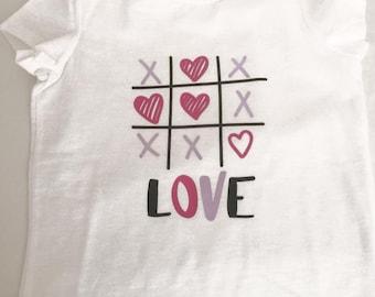 Tic Tac Toe Love Shirt, kids love shirt, adult love shirt, hearts, love