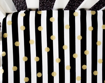 Gold Foil Polka Dot Fitted Crib Sheet. Baby Bedding. Crib Bedding. Black, White, and Gold Crib Sheet