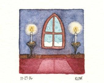 Gothic Window, Snowy Night