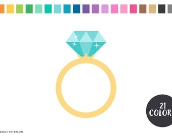 Diamond Ring, Wedding, Engagement - Cute Clipart, Clip Art - Commercial Use, Instant Download
