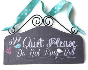 Baby Sleeping Sign, Do not Disturb, Baby Shower Gift, Vintage Baby, Chalk Board, Black Damask, Owls Pink Gray Teal, Do not Knock cute