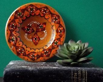 Small Wooden Hand Painted Decorative Plate/Ethnic/Folk Art/Ukrainian/Boho