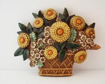 Vintage Ceramic Flowers in Basker Wall Decor/Marigolds/70's