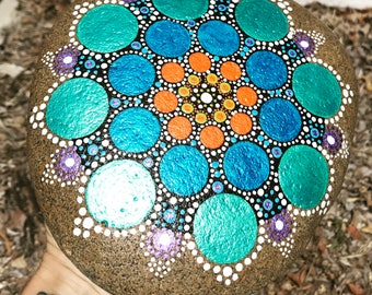 Large Mandala Hand Painted Stone Dots / Rock Art / Meditation