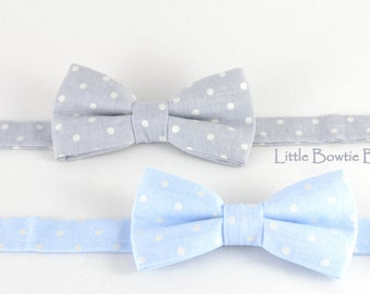Gray or Light Blue bow tie with white pearl polka dots, toddler bowties, adjustable pretied kids bowtie, metal hook adjustable bowtie