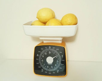 VINTAGE RETRO Krups Orange Mustard Scales. Yellow.