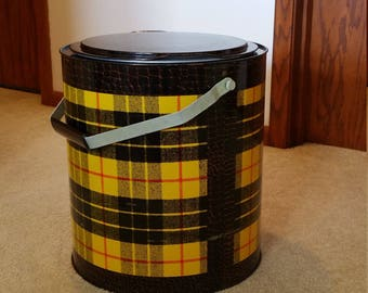 Vintage Cooler Round Ice Chest Poloron Refrig-all Portable Ice Chest Yellow Plaid 1950s