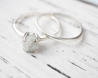 White Raw Diamond Ring - 1 Carat Rough Solitaire