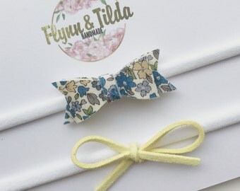 Baby headband set blue and lemon yellow froufrou and dainty bow