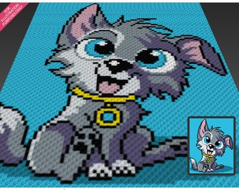 FluffyDog crochet blanket pattern; c2c, cross stitch; knitting; graph; pdf download; no written counts or row-by-row instructions