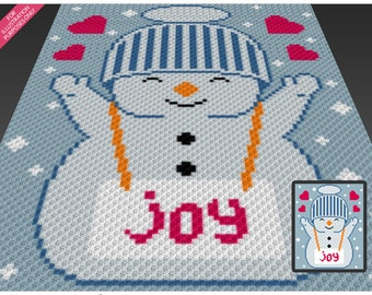 Winter Joy crochet blanket pattern; c2c, cross stitch; knitting; graph; pdf download; no written counts or row-by-row instructions