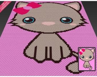 Fancy Kitten crochet blanket pattern; c2c, cross stitch; knitting; graph; pdf download; no written counts or row-by-row instructions