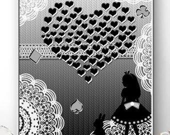 Love Alice and rabbit. Art Illustration, Black, Art Print, Kids Wall Art Print, Nursery Print.