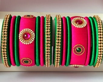 Silk Thread Bangles Set of 14 - Pink & Green Color