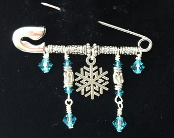 Snowflake Safety Pin Brooch with Swarovski Crystals