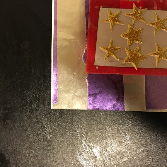 Silver and Floral Purple Striped Card with Red and Silver Centerpiece with Glittery Gold Stars Birthday Valentines Anniversary Wedding Baby