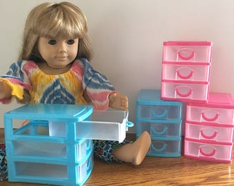 "American Girl - 18""  Doll Size Three Drawer Storage Containers"