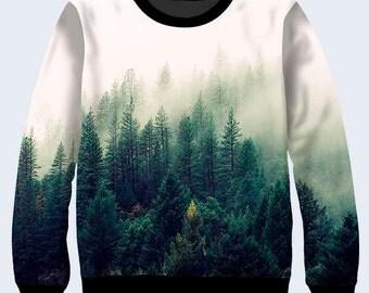 Forest Trees Coat, Nature Sweatshirt, Cool Sweatshirt, Sweatshirt for Women, Womens Sweatshirt, Pullover, Sweat Shirt, Green, White