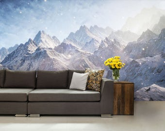 Mountain WALL MURAL, snow wall mural, forest mural, self-adhesive vinly, mountains wall mural, mountain wall mural, mountain fog wallpaper