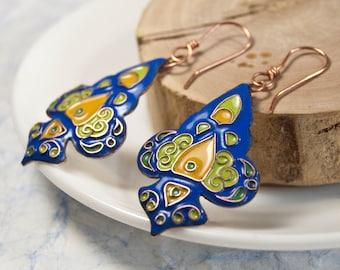 Glass enamel, Handmade Drop Earrings, Blue and green , Dangle Earrings
