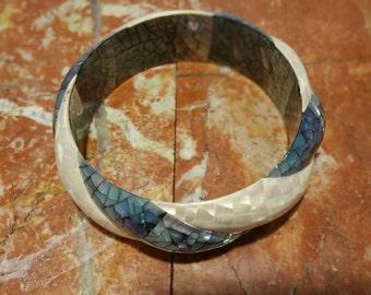 Unique  Mother of Pearl Handmade Bangle Bracelet. Only 1 left