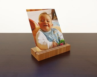 Wood Photo Holder. Wooden Postcard Holder. Wood Postcard Holder. Wood Card Holder. Office Card Display. Bamboo Card Holder.