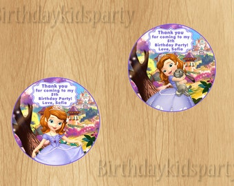 Sofia the First Favor Tag, Sofia the First Thank You Tags, Personalized, Digital File
