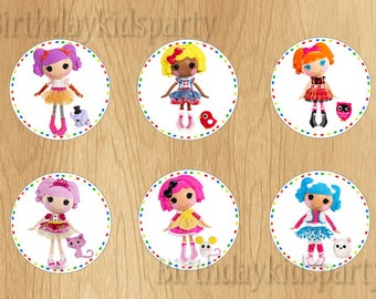 Lalaloopsy Cupcake Toppers, Lalaloopsy Birthday Circles,Instant Download, Digital File