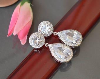 Cubic zirconia earrings,Wedding  Earrings, Bridal jewelry,bridesmaid gift,bridesmaid earrings,zirconia jewelry,prom.