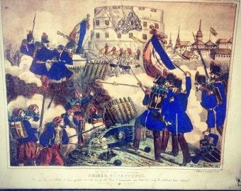 Lithograph Hollier / plug of Sevastopol / Crimean War / Napoleon III / 1855 / historical Scene.