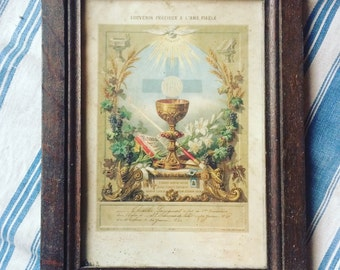 Antique French reliquary. First communion souvenir. 16th of June 1881.