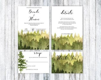 Forest Wedding Invitation, Rustic Watercolor Tree Invite, Wedding Invitation Template, Outdoor Wedding, Pine Tree Invite, Rustic Wedding