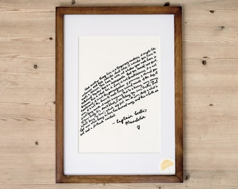 Captain Corelli's Mandolin 'Love' | An Inspirational Quote Illustrated A3 or A4 Art Print | Hand Drawn By Poppins & Co